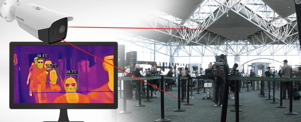 Thermal Camera Setup at line queue in airport