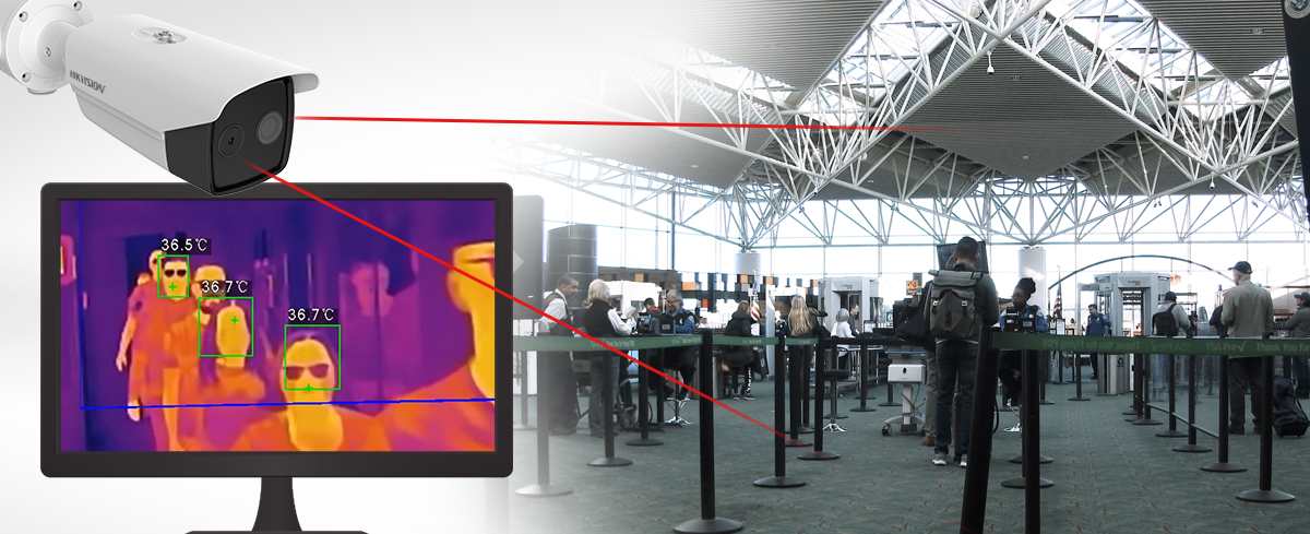 Thermal video Camera Setup at line queue in airport